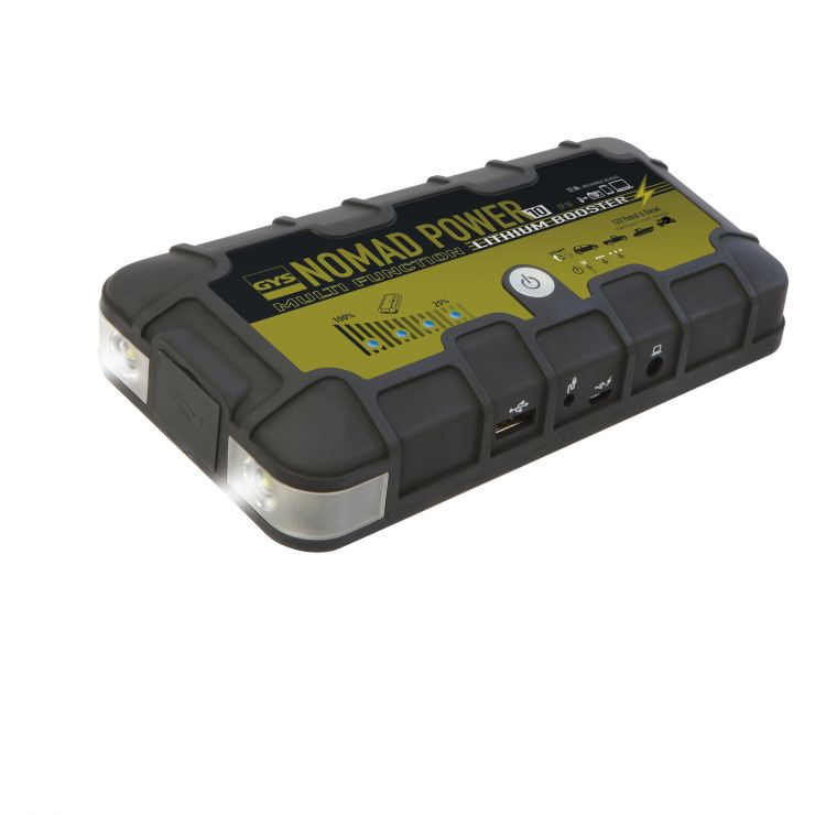 NOMAD POWER 10 Переносной компактный бустер на основе литиевой батареи. Может использоваться для пуска легковых автомобилей, мотоциклов и лодок, а также как дополнительное зарядное устройство для смартфонов, ноутбуков и т.п. Снабжен лампами для подсветки.