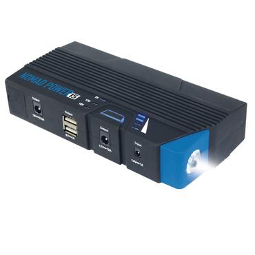NOMAD POWER 15 Переносной компактный бустер на основе литиевой батареи. Может использоваться для пуска легковых автомобилей, мотоциклов и лодок, а также как дополнительное зарядное устройство для смартфонов, ноутбуков и т.п. Снабжен лампами для подсветки.