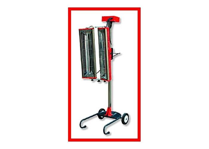 ИК-сушка двухламповая, коротковолновая, на вертикальном перекатном штативе.  Мощность 2 кВт, Площадь сушки 1 х 0,7 м Таймер 1 - 28 мин.