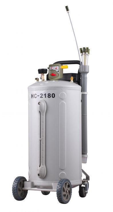 Вакуумная установка для маслозамены через щупы с индикатором заполнености бака. Емкость бака 80л. Давление вакуума 8-10 Bar. Макс. давление откачки 1 Bar. Скорость откачки 6,5л./мин.  6 щупов.