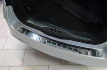 Накладка на задний бампер, AluFrost, с вставками, нерж. сталь, 5дв. хэтч