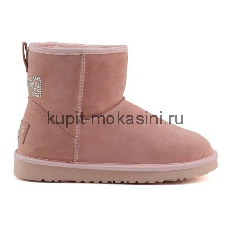 Classic Mini Crystal Bow Pink - Угги Мини Кристал Розовые