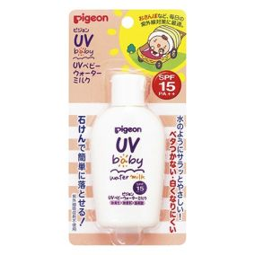 Детское солнцезащитное увлажняющее молочко PIGEON UV SPF 15 без парабенов, с рождения, бутылка 60г
