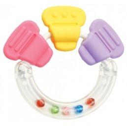 PIGEON Прорезыватель-погремушка R3, для детей в возрасте от 3 месяцев, изготовлена из мягкого безопасного материала.