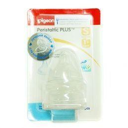 PIGEON Соска силиконовая для детской бутылочки Перистальтик Плюс размер S 1+мес 2шт