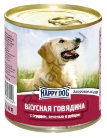 HAPPY DOG Консервы Говядина с сердцем,печенью и рубцом 0,75 кг