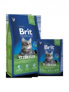 BRIT Premium Sterilised Нежная курица с куриной печенью для стерилизованных кошек и кастрированных котов (8 кг)
