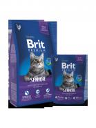BRIT Premium Senior Курица с соусом из куриной печени для пожилых кошек (1,5 кг)