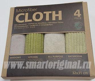 Smart Microfiber Комплект салфеток Ультра 32 х 31 см серые и зелёные 4 шт
