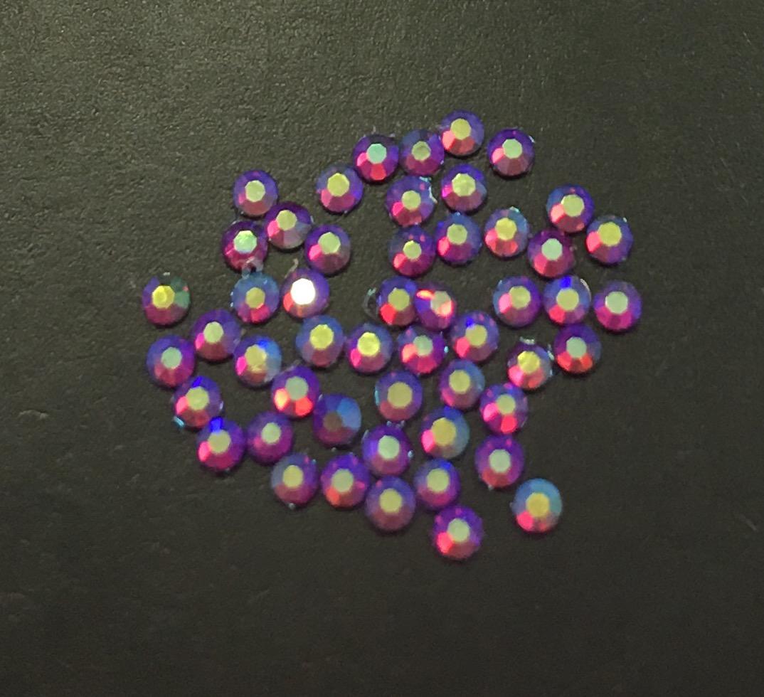 Стразы SS4 стекло плоские (Fuchsia AB 025) уп/50шт