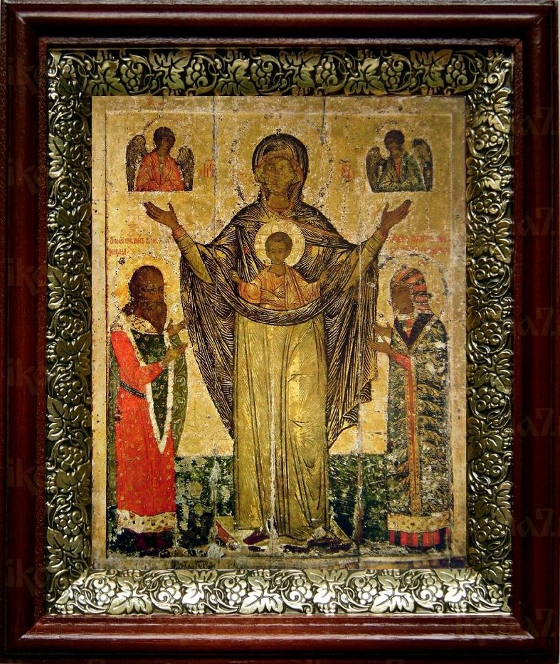 Мирожская икона БМ (19х22), темный киот