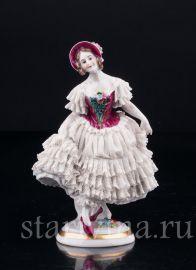 Девушка в розовой шляпке, кружевная, Volkstedt, Германия, до 1935 г