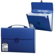 Папка-портфель 13 отд BRAUBERG  т-синий рельеф/10 221379