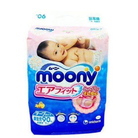 Подгузники Moony NB для новорожденных до 5кг, 90 шт/уп  - с вырезом для пупка, Disney