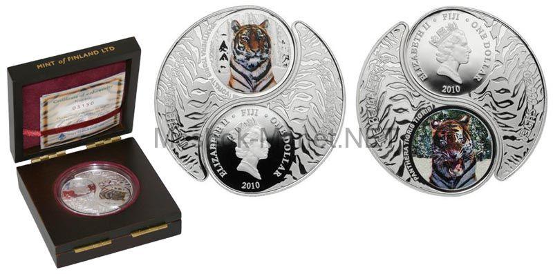 1 доллар 2010, Фиджи, Сибирский и Бенгальский тигры