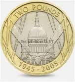 2 фунта 2005. Великобритания, 60 лет окончания 2-ой мировой войны