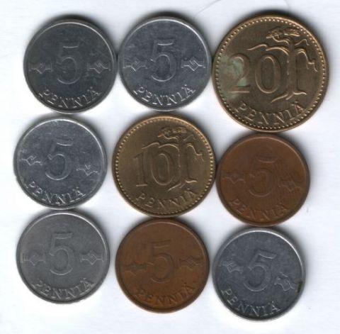 Набор монет Финляндия 1971-1984 г. 9 шт.