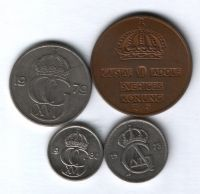 Набор монет Швеция 1961-1980 г. 4 шт.