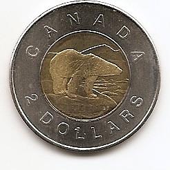 10 лет первого выпуска монет 2 доллара 2доллара Канада 2006