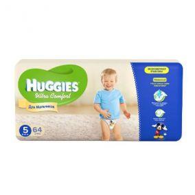 Подгузники Huggies Ultra Comfort для мальчиков 5 (12-22 кг) 64 шт