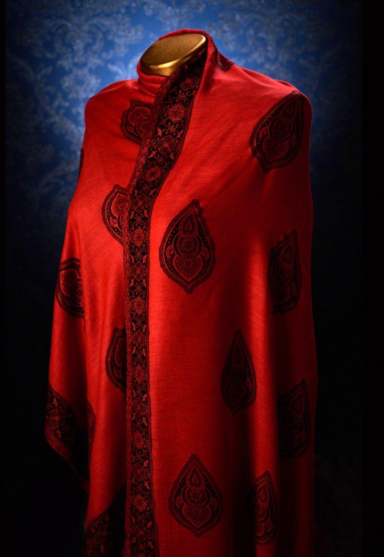 Красный индийский палантин (отправка из Индии)