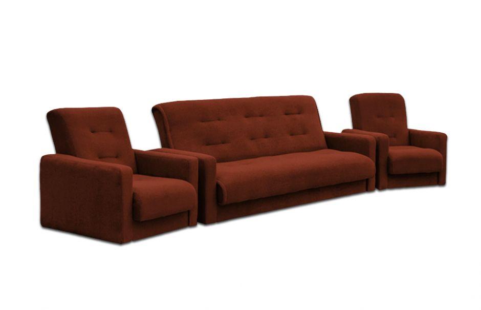 """Комплект диван и два кресла """"Милан"""" коричневый"""