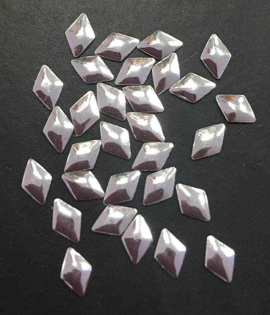 Стразы пластиковые ромб голография 30шт. (серебро)
