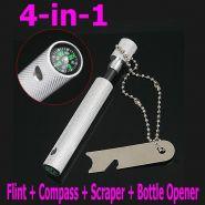 4-в-1 Флинта + Компас + скребок + открывалка для бутылок