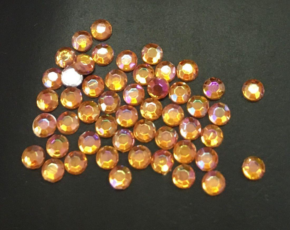 Стразы пластиковые круглые 2,41мм уп/50 шт (оранжевый АВ)