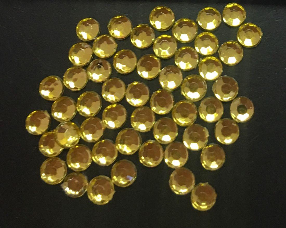 Стразы пластиковые круглые 2,41мм уп/50 шт (желтый)
