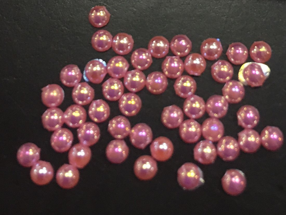 стразы полужемчужины пластиковые d.1.5 (розовый перламутр)