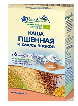 Флёр Альпин - каша Безмолочная Органик пшенная и смесь злаков, 6 мес., 175 гр.