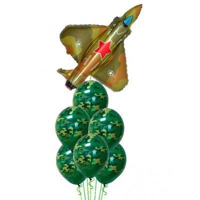 """Композиция из воздушных шаров """"Истребитель"""""""