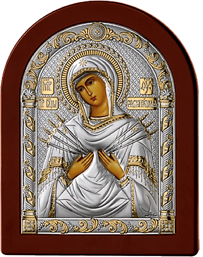 Серебряная икона Богоматерь Семистрельная (Италия, прозрачный лак, повышенное качество!)