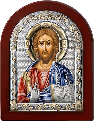 Серебряная икона Иисус Христос Спаситель (Италия, цветной лак, повышенное качество!)