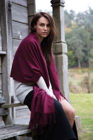 Роскошная классическая шотландская  шаль, высокая плотность, 100 % драгоценный кашемир , Ежевичная расцветка  Boysenberry (премиум)