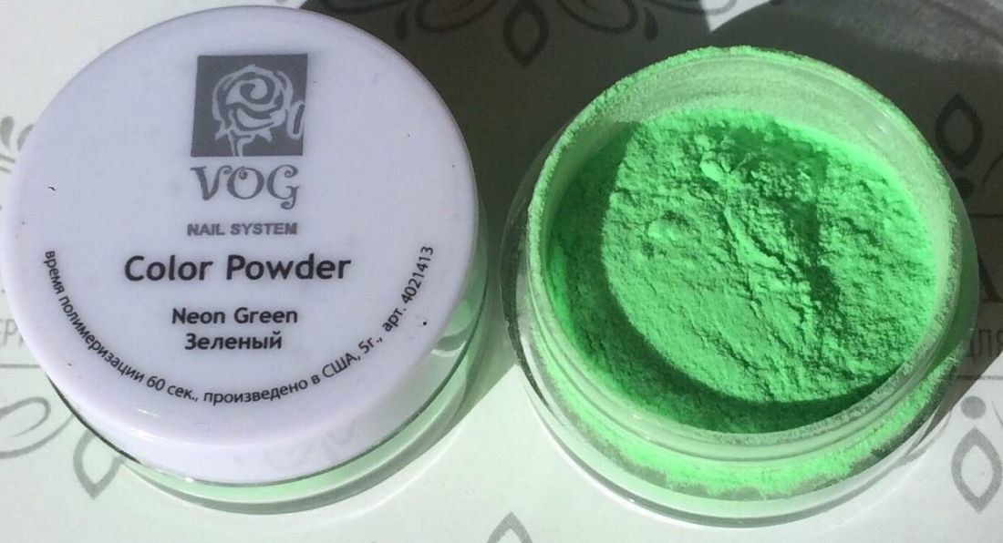 Акриловая пудра VOG неоново-зеленая 5гр США