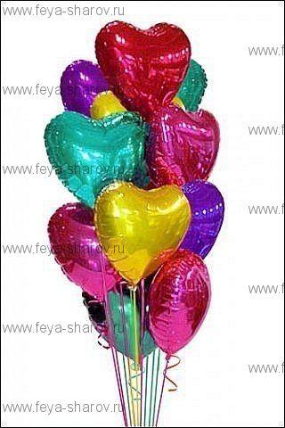 Букет разноцветных сердец