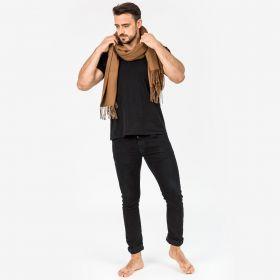 Роскошный классический шотландский супербольшой шарф, высокая плотность, 100 % драгоценный кашемир , расцветка Классика , Ореховый (премиум)