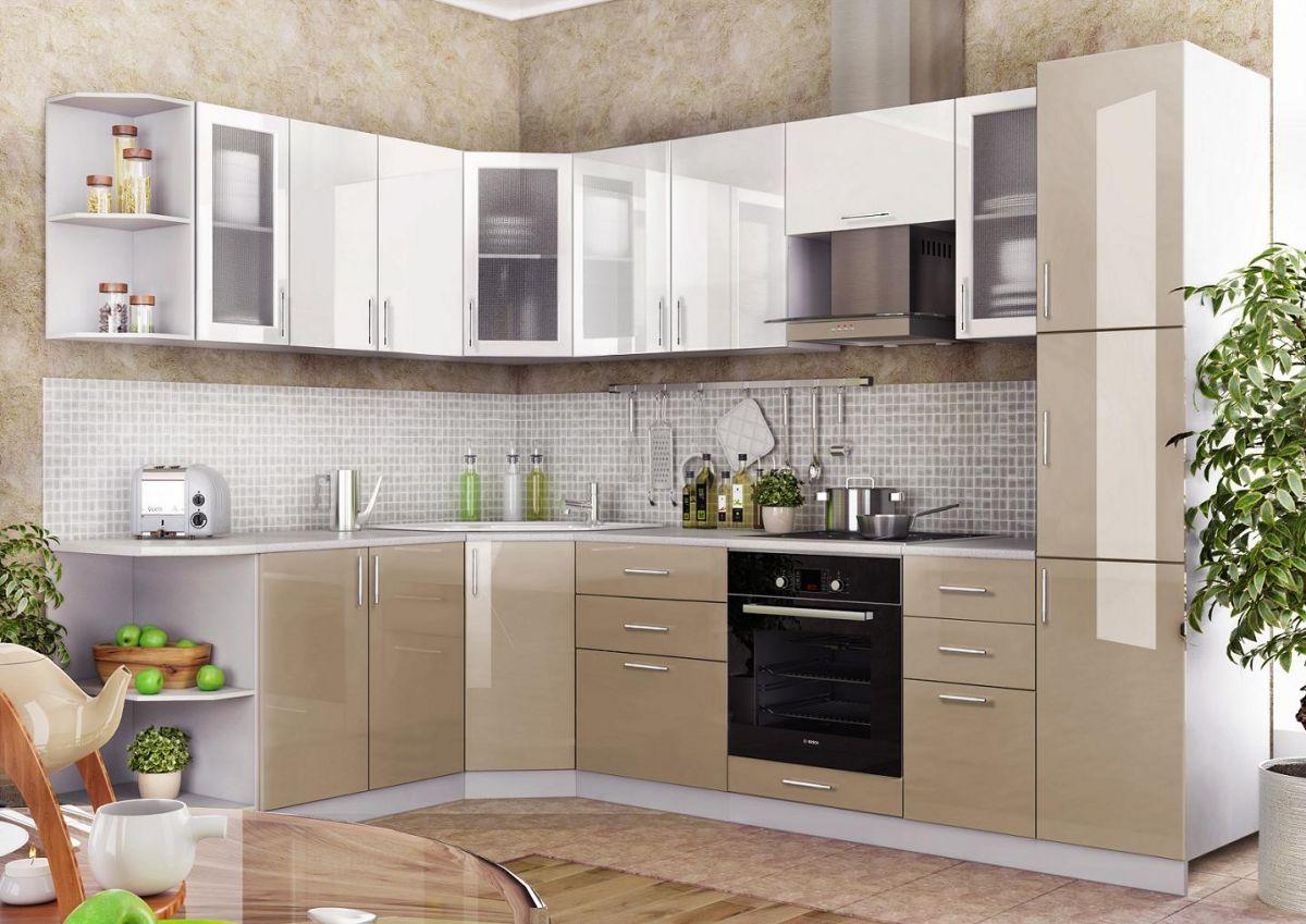 Кухонный гарнитур 2*2,8 м (Фасады МДФ какао + белый) - эконом