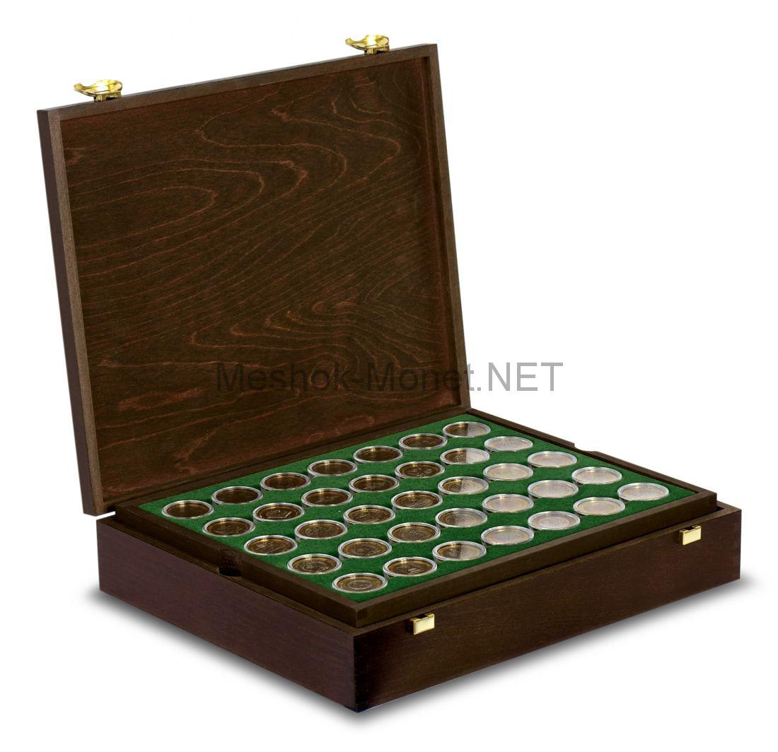 Коллекция биметаллических монет 10 рублей 2000-2018 Люкс в деревянном футляре