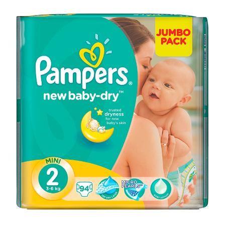 Подгузники Pampers New Baby-Dry 2 (3-6 кг) 94 шт (в асс.)