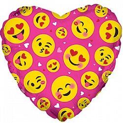 Сердце Влюблённые смайлы фуксия шар фольгированный с гелием