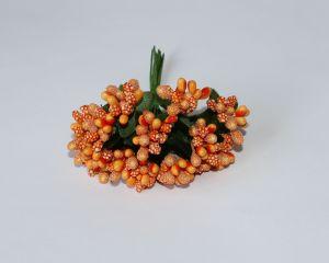 Тычинки в связках перламутровые, цвет - оранжевый, 1уп = 6 связок (1 связка = 11-12 букетиков)
