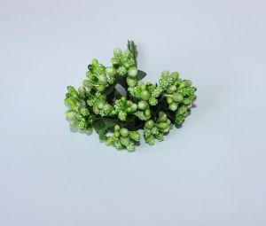 Тычинки в связках перламутровые, цвет - зеленое яблоко, 1уп = 6 связок (1 связка = 11-12 букетиков)