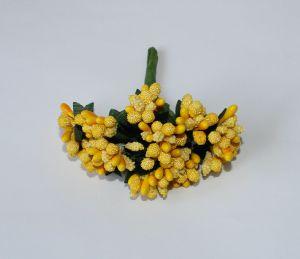 Тычинки в связках перламутровые, цвет - желтый, 1уп = 6 связок (1 связка = 11-12 букетиков)