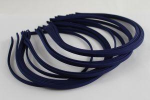 Ободок металл обтянутый тканью 5 мм, цвет: темно-синий (1уп = 12шт), Арт. ОБ0048