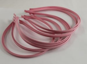 Ободок металл обтянутый тканью 5 мм, цвет: светло-розовый (1уп = 12шт), Арт. ОБ0051