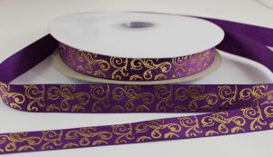 Лента репсовая с рисунком, ширина 22 мм, длина 10 метров цвет: фиолетовый, Арт. ЛР5655-13