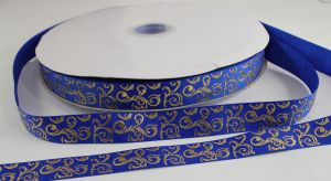 Лента репсовая с рисунком, ширина 22 мм, длина 10 метров цвет: синий, Арт. ЛР5655-14